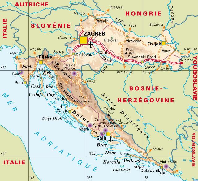 Carte de la Croatie   Ambassade de Croatie en France