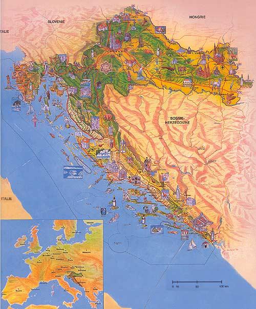 Carte touristique de la Croatie   La Croatie   Ambassade de